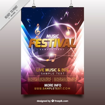 Shiny music festival poster with geometric shapes