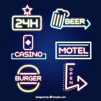 Shiny neon light signages for establishments