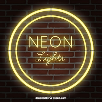 Shiny neon lights with brick wall background