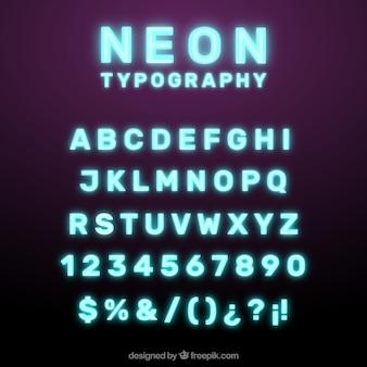 Shiny neon typography