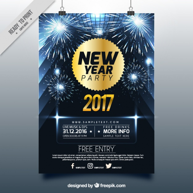 Shiny new year brochure with fireworks