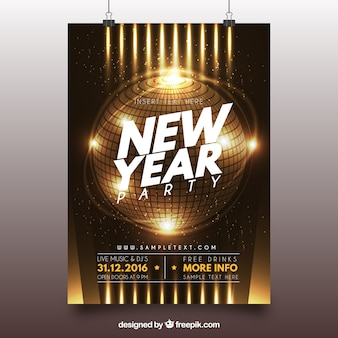 Shiny new year golden brochure