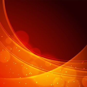 Shiny orange waves on abstract background.