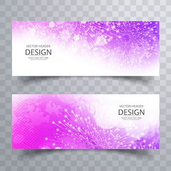 Shiny purple watercolor banners