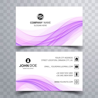 Shiny purple wavy business card