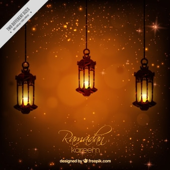Shiny ramadan background with iluminated lanterns