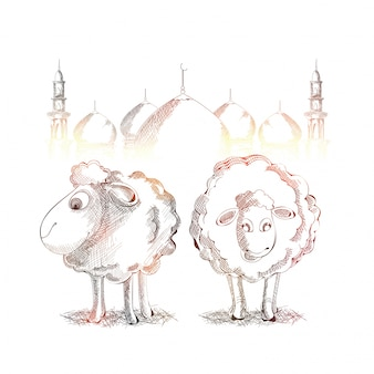 Shiny sketch of goats and mosque for Eid-Al-Adha.