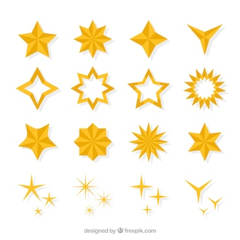 Shiny stars with different shapes