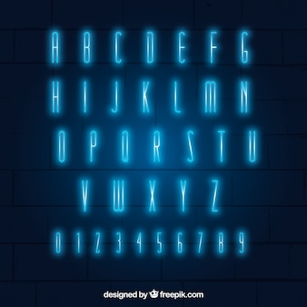 Shiny typography of blue neon lights