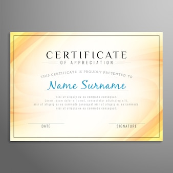Shiny yellow certificate design
