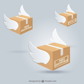Shipping boxes with wings