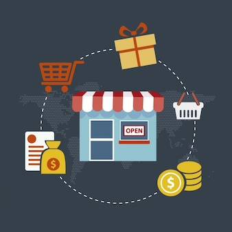 Shopping and commerce infographic
