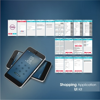 Shopping application with red and blue details