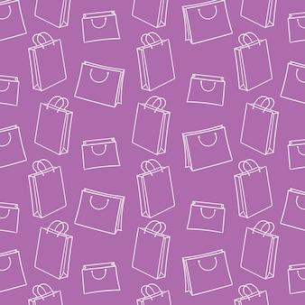 ショッピングバッグハンド描画ベクトルパターンの背景