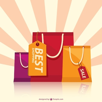 Shopping bags with sunburst background