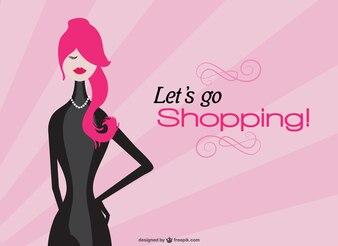 Shopping girl with pink sunburst