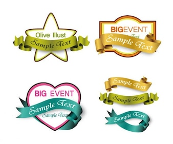 shopping labels with ribbons vector graphic