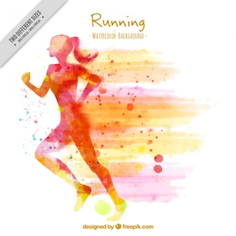 Silhouette background of watercolor woman running