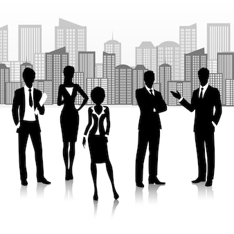 Silhouette business group team people on buildings landscape vector illustration