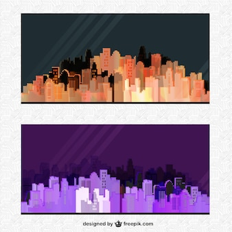 Silhouette city posters at night