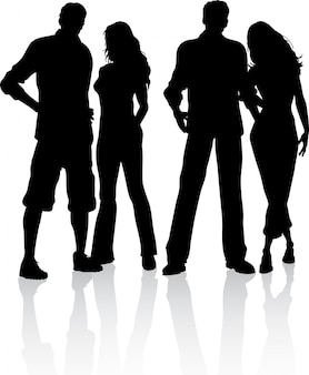 Silhouette of a group of 4 friends