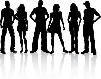 Silhouette of a group of friends