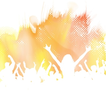 Silhouette of a party crowd on a watercolour background