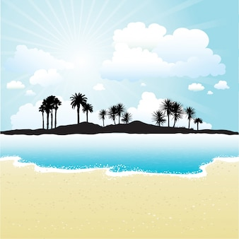 Silhouette of a tropical island against a sunny sky and beach