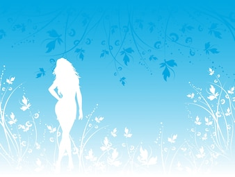 Silhouette of a woman with floral elements