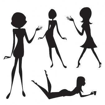 Silhouette of cute fashion girls