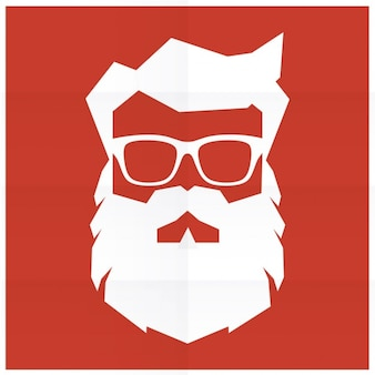 Silhouette of hipster santa claus