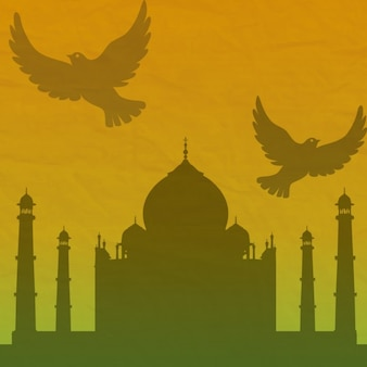 Silhouette of indian building with gradient background