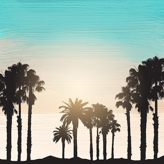 Silhouette of palm trees on an acrylic paint background