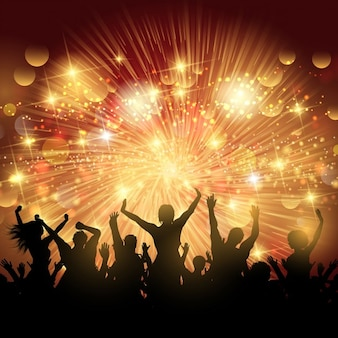 Silhouette of party crowd lights background