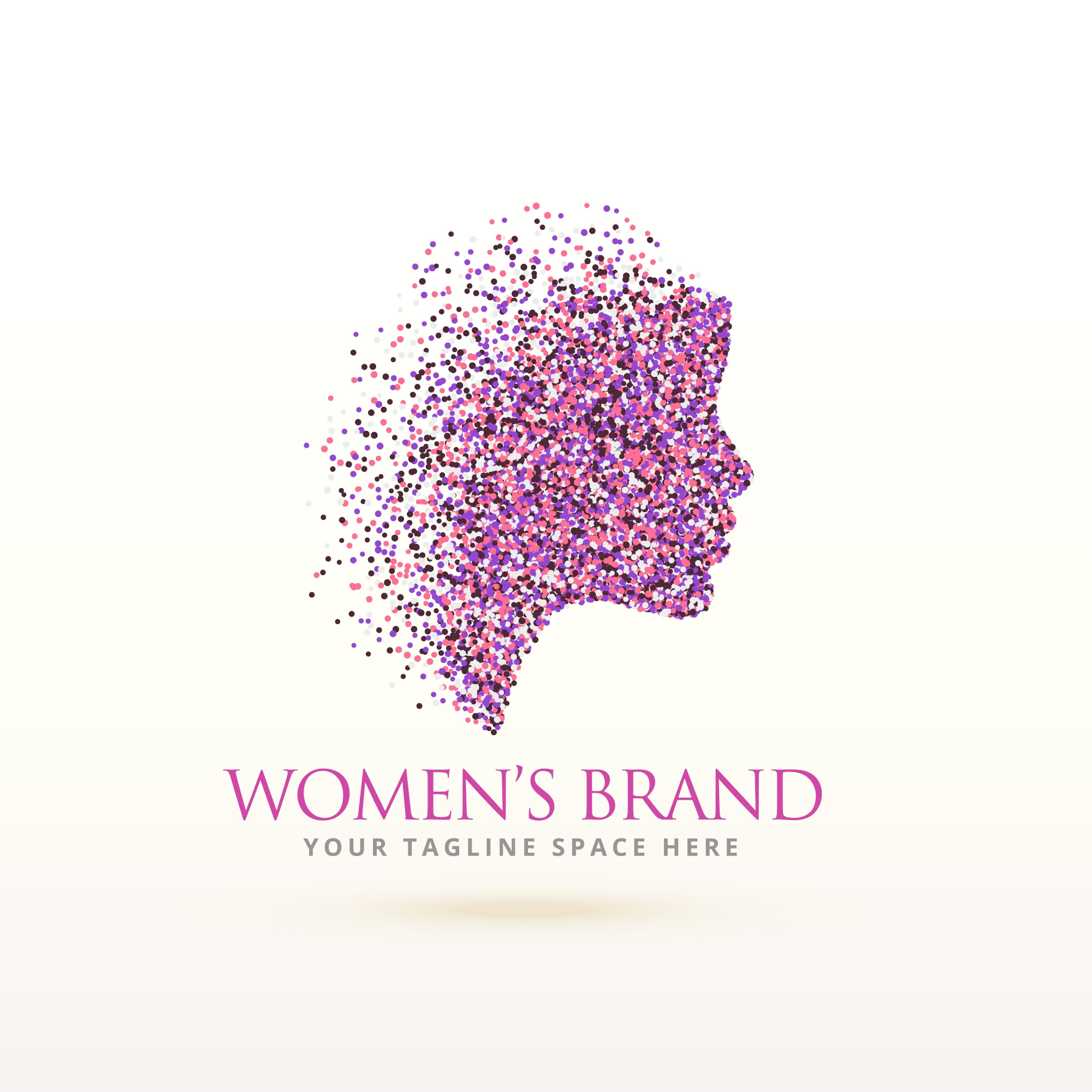 Silhouette woman logo with particles