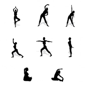 Silhouettes about people doing exercise