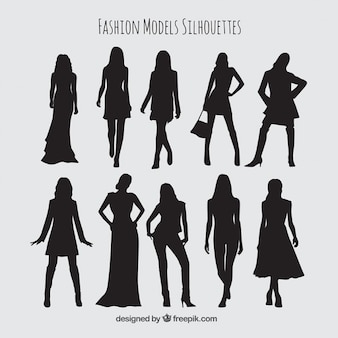 Silhouettes collection of models with stylish clothes