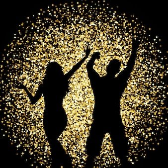 Silhouettes of a couple dancing on a gold glitter background