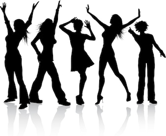 Silhouettes of a group dancing