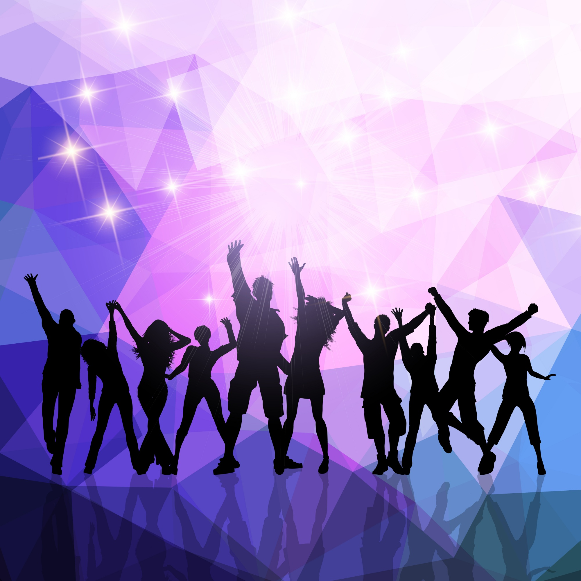 Silhouettes of a party crowd on a low poly background