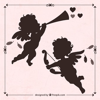 Silhouettes of cupid