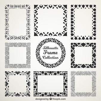 Silhouettes of decorative frames