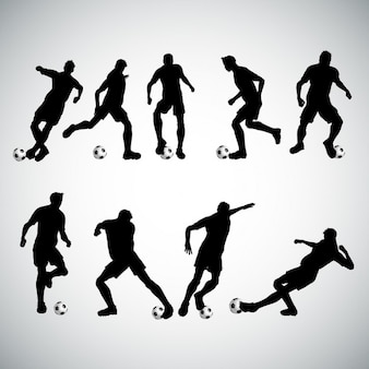 Silhouettes of football players in various poses