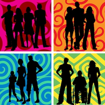 Silhouettes of groups of people on abstract backgrounds