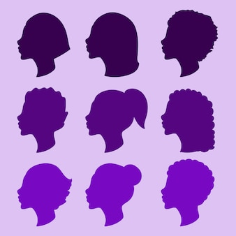Silhouettes of hairstyles
