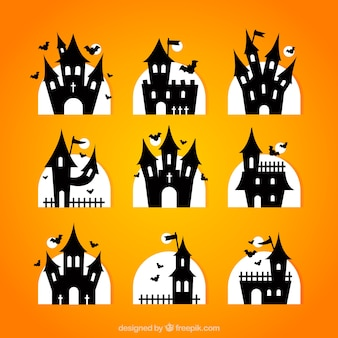 Silhouettes of halloween castles