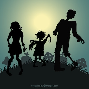 Silhouettes of halloween zombies