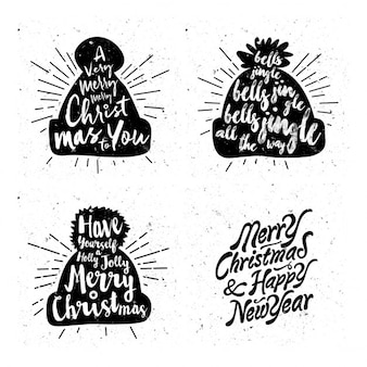 Silhouettes of hats with christmas messages