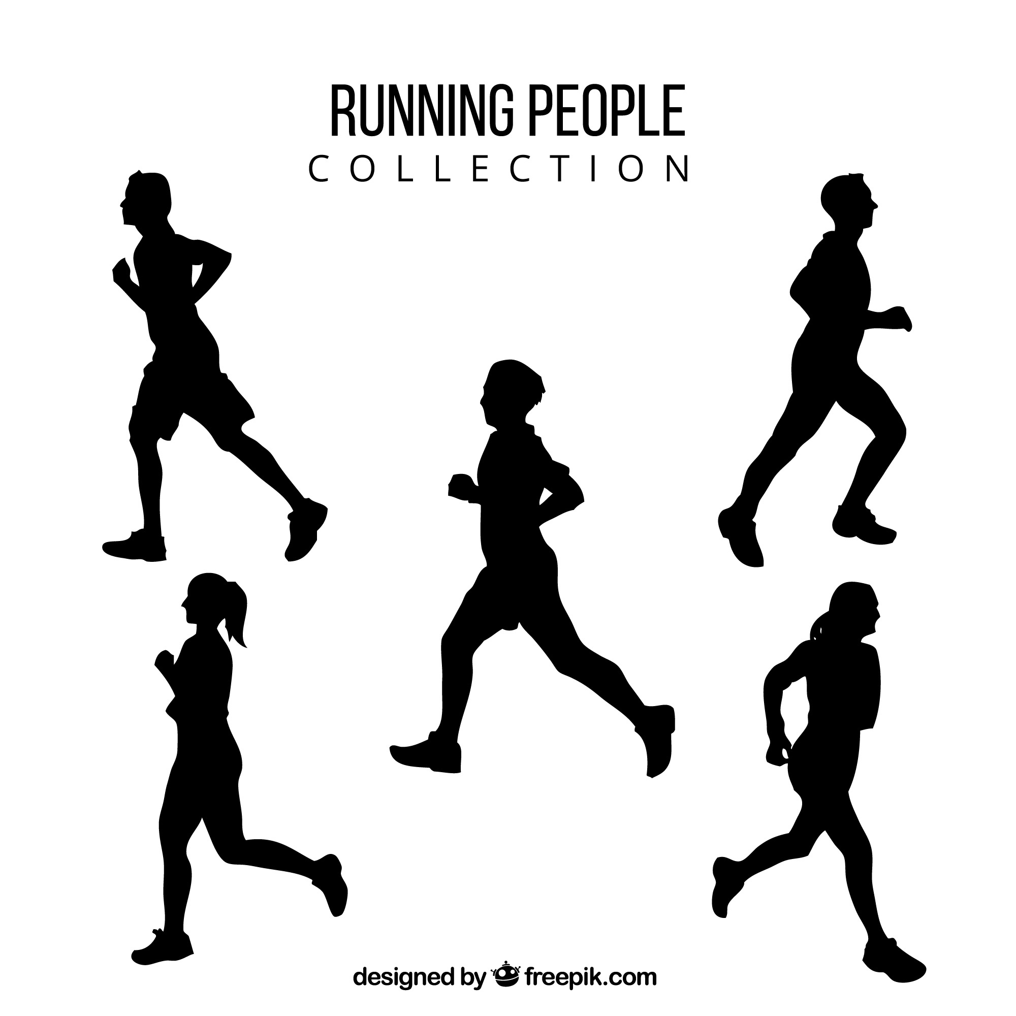 Silhouettes of men and women running