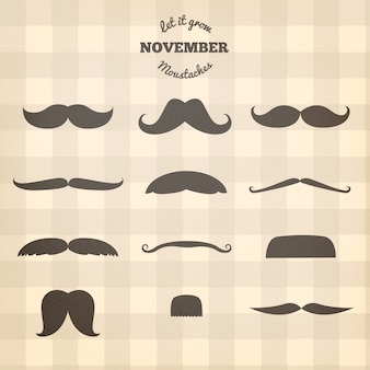 Silhouettes of movember moustaches